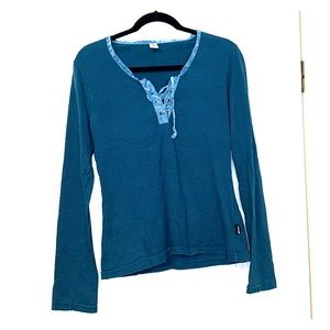 Prana Long Sleeve Shirt with lace up details